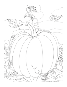 This Thanksgiving coloring page features a giant pumpkin and fall leaves. Free t...