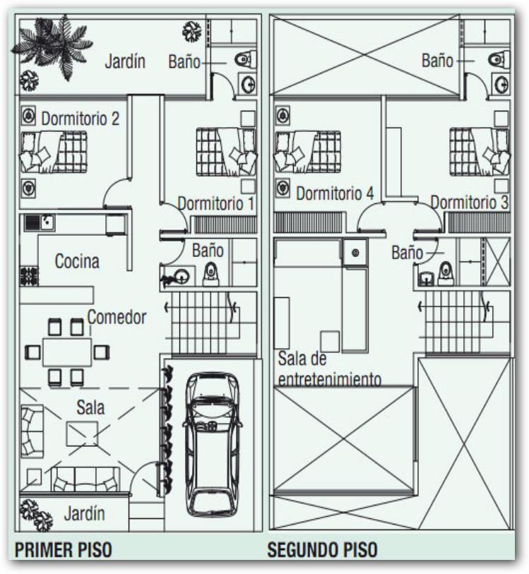 Plano de dos pisos con terraza arquitectura pinterest for Planos de closet pdf