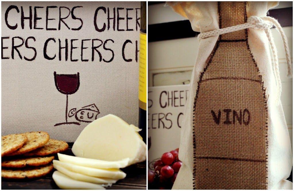 Handmade burlap wine tote - wine tasting wine gift giving Craftberry Bush - burlap wine sac