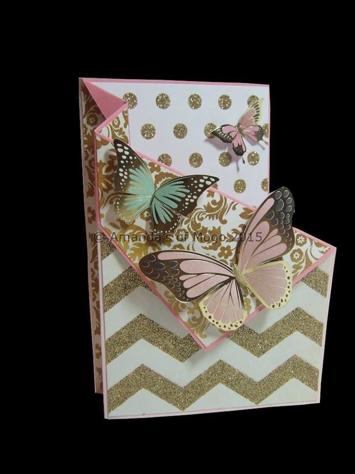 Gold foil and glitter butterfly card with a unique fold #amandasofmogo #mogo #handmade #cardmaking #goldfoil #goldglitter #butterflies