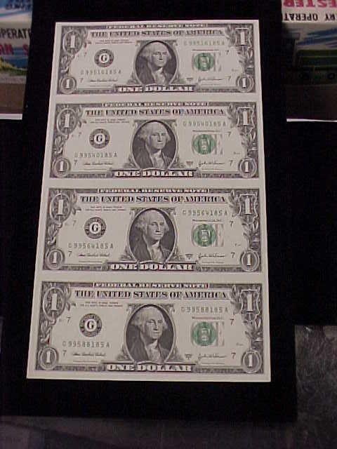 Uncut Sheet Of 4 2003a 1 Federal Reserve Notes Nice Crisp