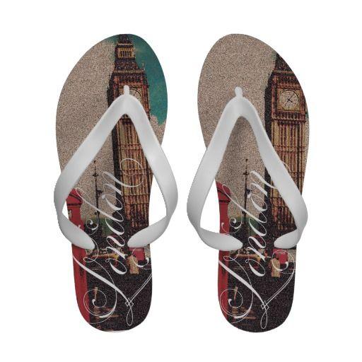 London Landmark Vintage Photo Sandals
