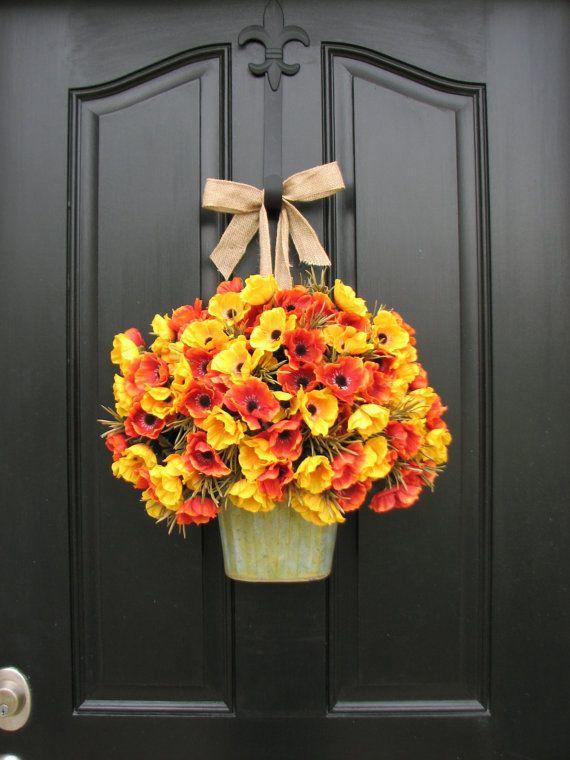 Fall Bouquet, Fall Poppies, Fall Harvest, Pumpkins, Fall Floral Arrangement, Autumn Decor, Wall Pocket, Galvanized Bucket, Poppy Fields