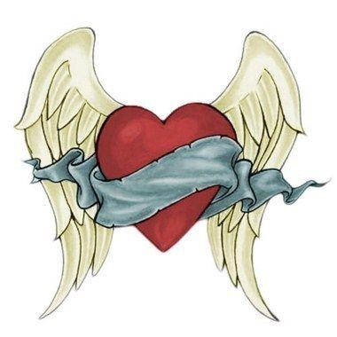 Tatouage c ur avec ailes d 39 ange citation pinterest tatouage tatouage coeur et tatouage - Coeur d amoureux ...