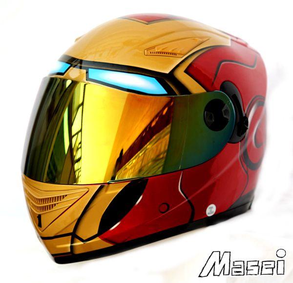 Masei 830 Ironman Motorcycle Helmet with Gold Chrome Visor/Shield