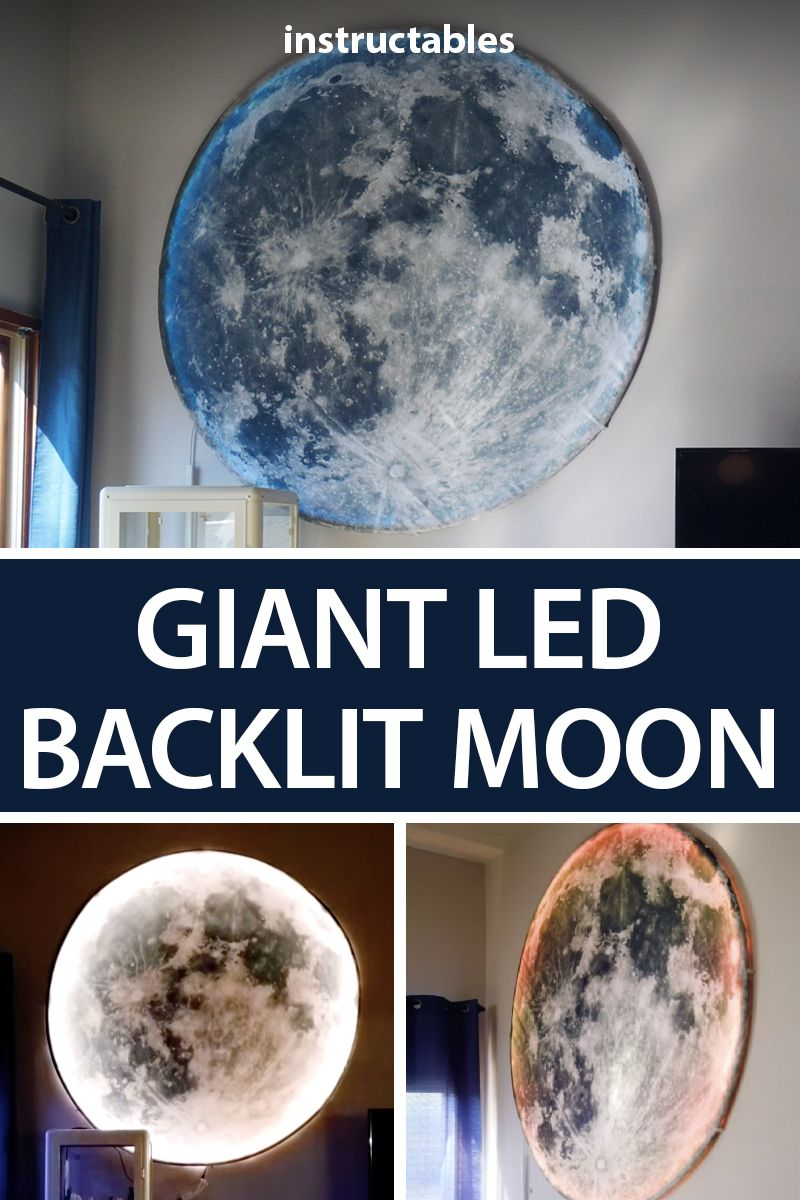 Easy Giant Led Backlit Moon Home Decor Decor Vinyl Shower Curtains