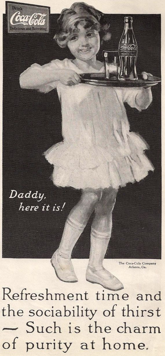 Vintage Coke ad Little Girl Carrying CocaCola to by
