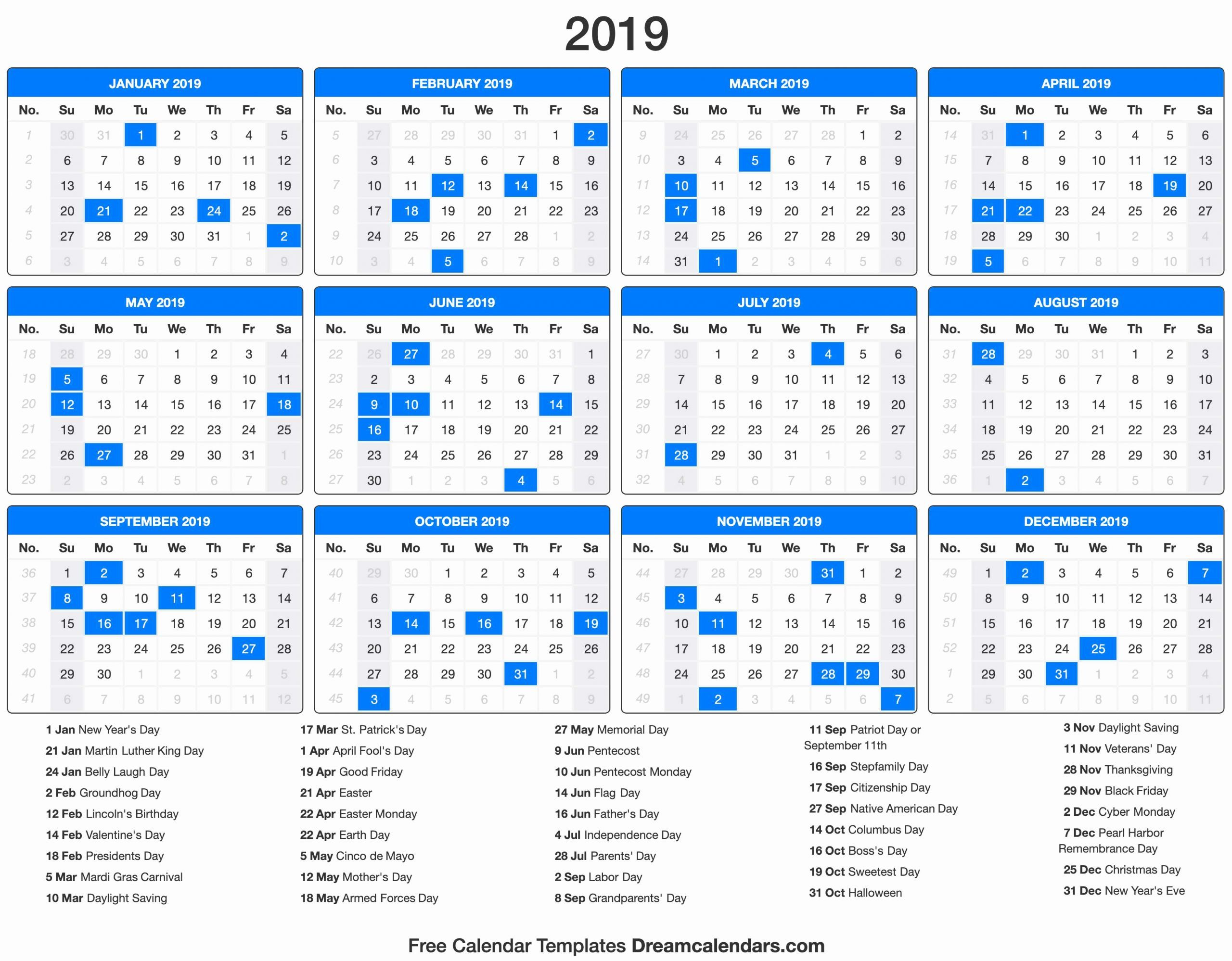 Printable Calendar with Holidays in 2020   Printable ...