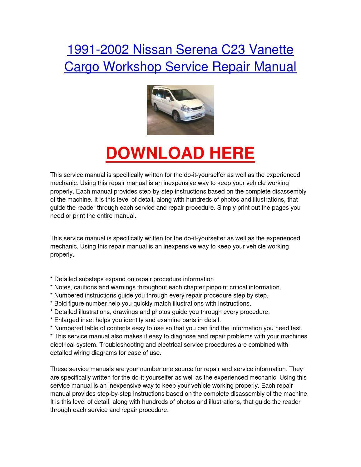 nissan serena c23 repair manual 9 chies pinterest repair rh in pinterest com nissan serena workshop manual free download nissan serena owners manual english