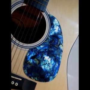 acoustic custom pickguard iridescent blue abalone axetreme guitar gear and gifts guitar. Black Bedroom Furniture Sets. Home Design Ideas