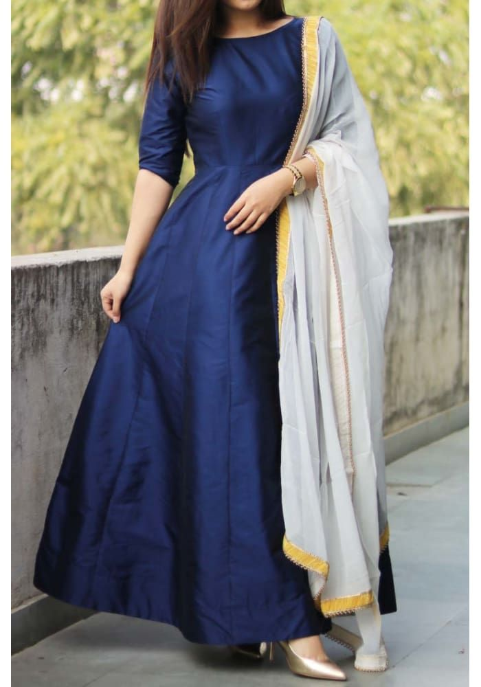 593a67a5953 Denim Blue Silk Anarkali Cotton Anarkali Dress
