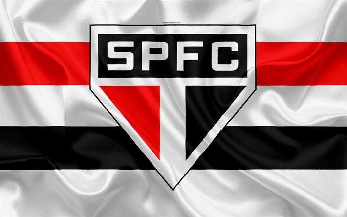 5cb2c9cb60fe9 Download wallpapers Sao Paulo FC, Brazilian football club, emblem, logo,  Brazilian Serie A, football, Sao Paulo, Brazil, silk flag