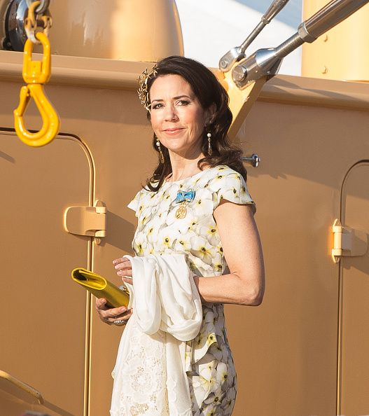 Crown Princess Mary of Denmark leaves the Danish Royal Yacht The Dannebrog to attend a banquet to celebrate the 70th birthday of King Carl Gustaf of...