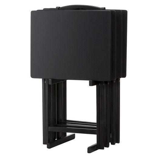 44 99 Solid Wood 5 Piece Tv Tray Set Black Pdg Target