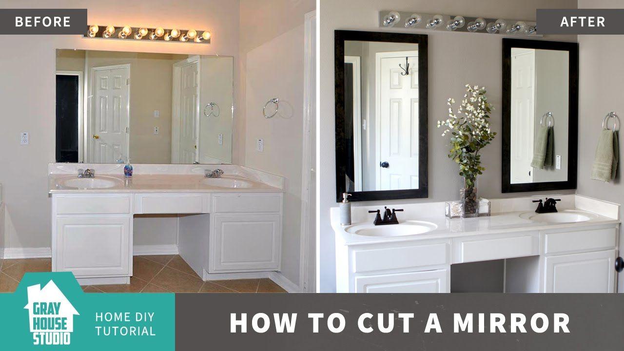 How to cut a mirror like a large bathroom mirror tutorial video