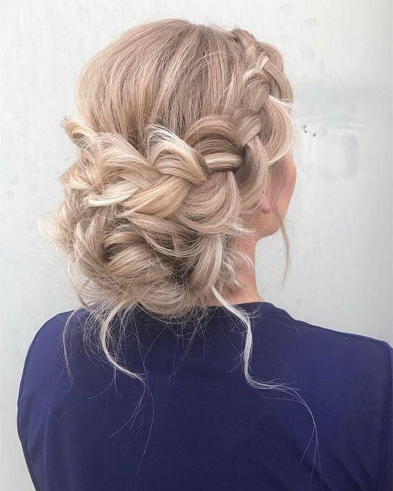 Beautiful Boho Braid Updo Wedding Hairstyle For Romantic Bohemian Brides Hair Styles Prom Hairstyles For Long Hair Long Blonde Hair