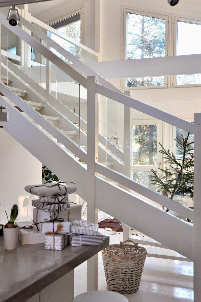 Stairway. Cross between modern and traditional simplicity.