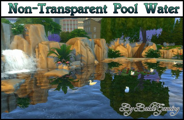 Sims 4 cc 39 s the best non transparent pool water by for Pool designs sims 4