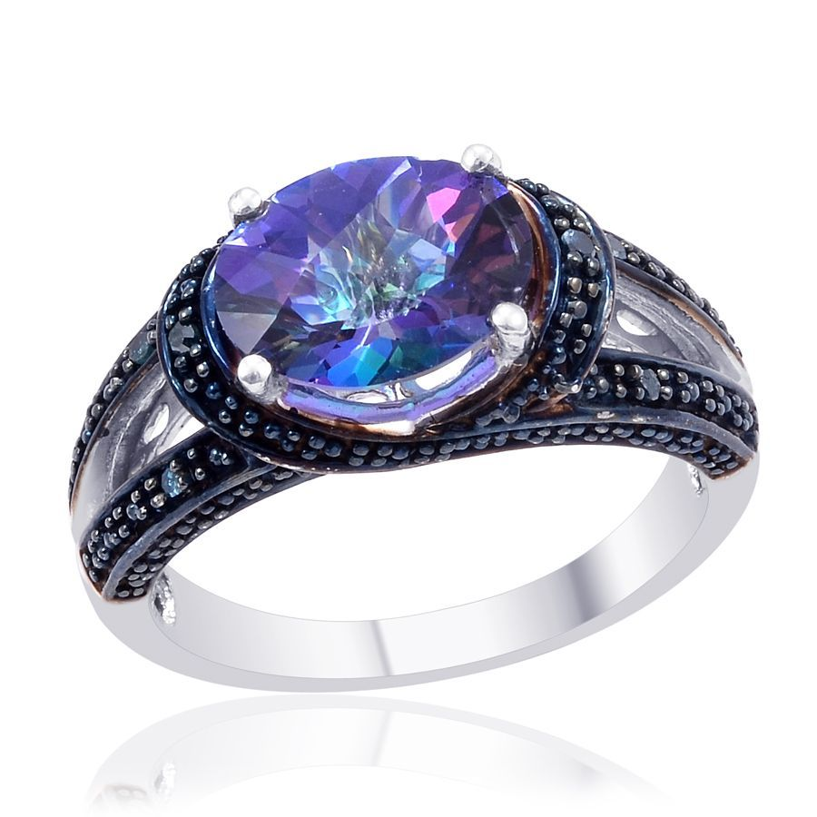 Blue Lagoon Mystic Topaz Ovl 4 10 Ct Diamond Ring In Platinum Overlay Ringsblue Diamondswedding