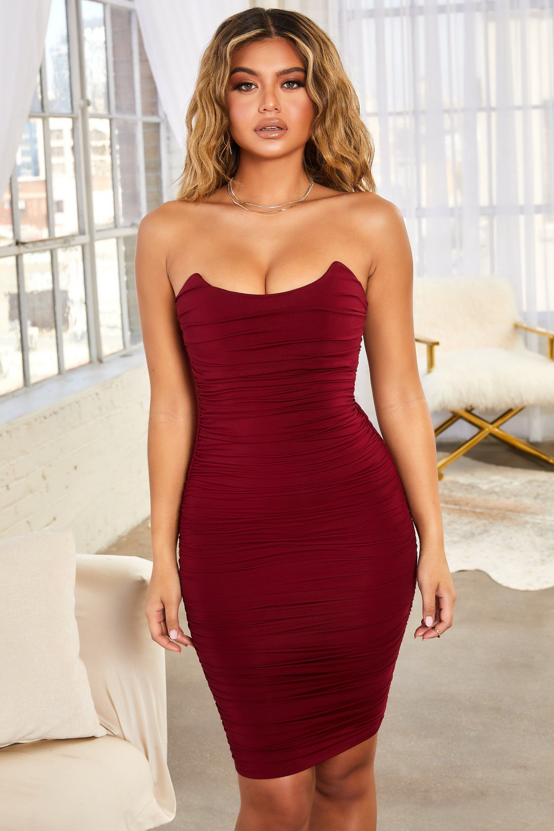 Forever Yours Ruched Bandeau Midi Dress Oh Polly Strapless Dress Formal Midi Dress Dresses [ 2700 x 1800 Pixel ]
