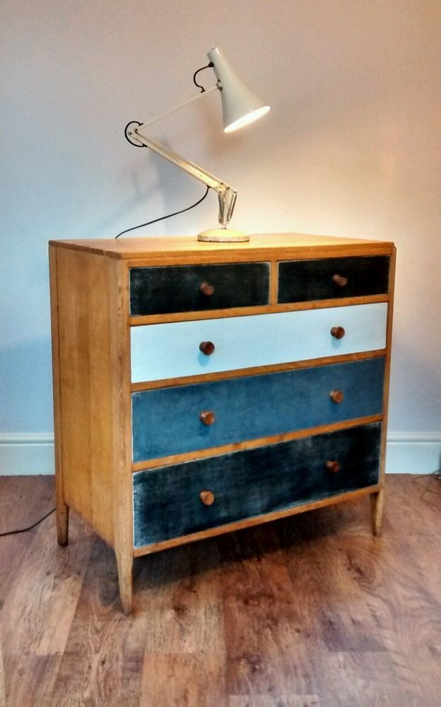 Retro Vintage Oak Pine chest of drawers,Sideboard Painted Shabby ...