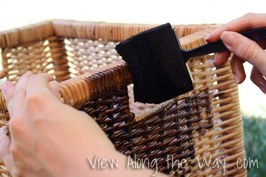 Wood Stain On Wicker Storage Baskets Use Small Bottle Of