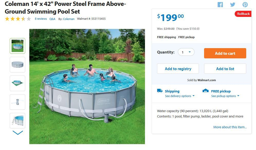 Walmart Coleman 14 X 42 Swimming Pool On Rollback For 199 Was