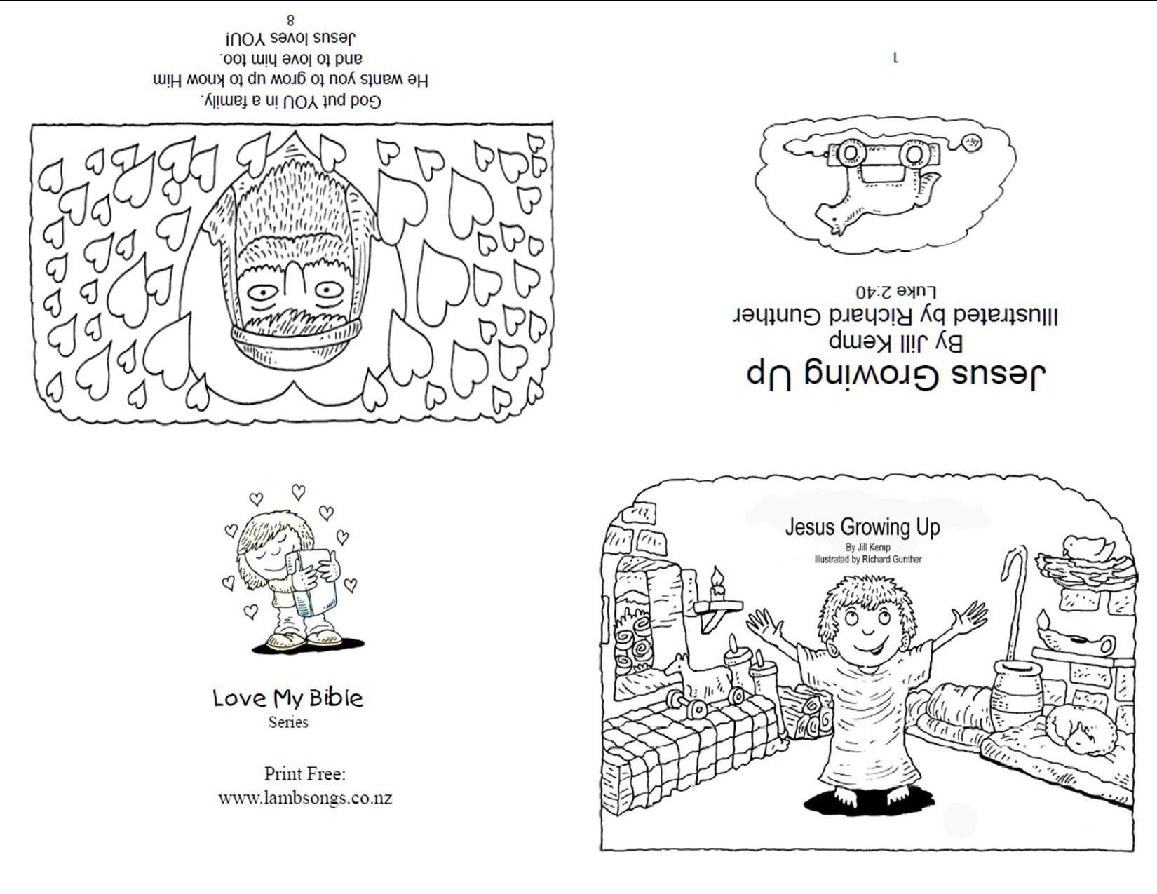 Jesus Grew Up Book Page 1 Sunday School Coloring Pages