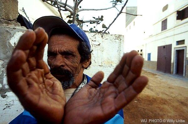 One man, two hands. Sidi Ifni. Morocco.