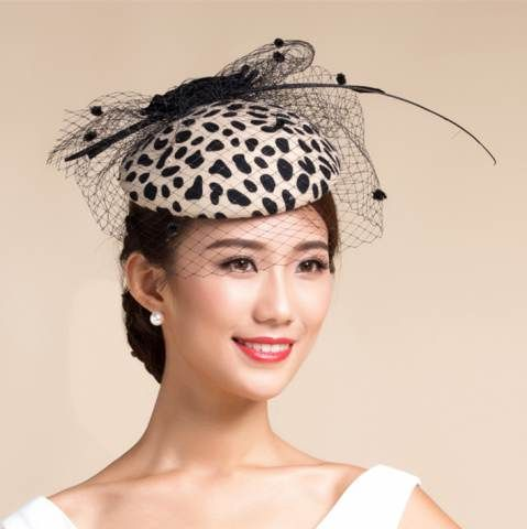 Fashion leopard pillbox hat with veil women s beige fascinator hats  Fascinator Hats 3dd9be4d98b