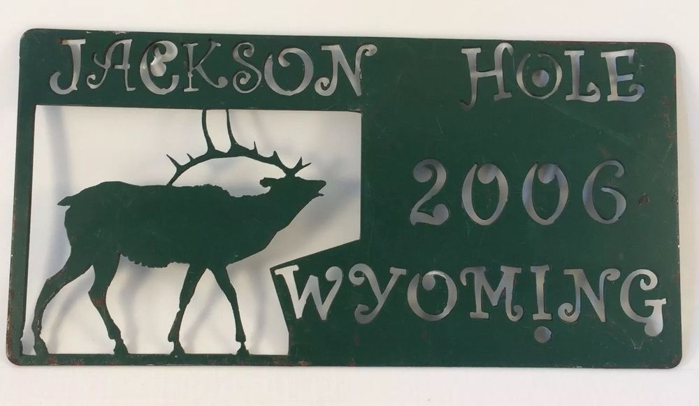 Jackson Hole Wyoming Elk Cutout Metal 2006 Decorative Wall Art Distressed