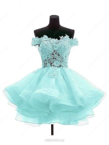 Princess Off-the-shoulder Organza Tulle Short Mini Appliques Lace Red Cute  Prom Dresses ce2f103dc