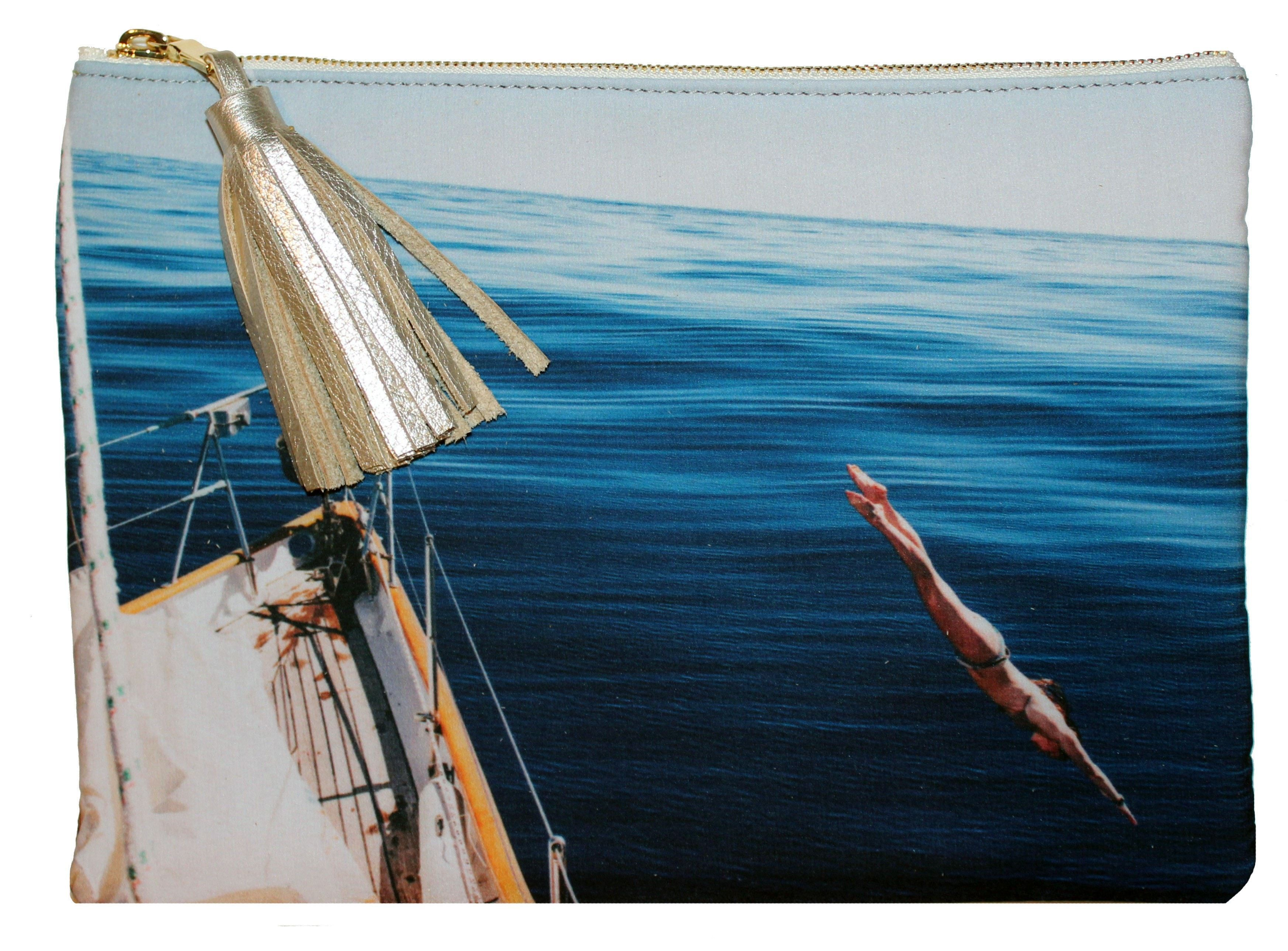 Nantucket Photo Collection Silk Girl Diver Clutch
