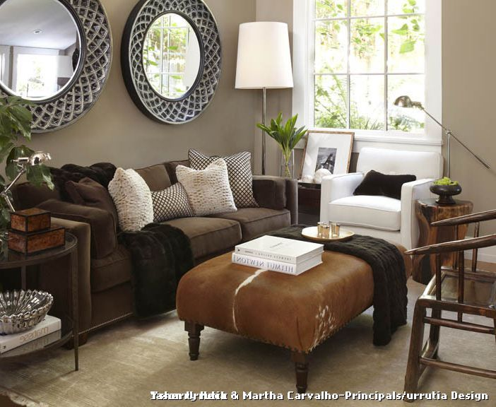 Cowhide Ottoman Transitional Living Room with Earth Tones { home - Wohnzimmer Braunes Sofa