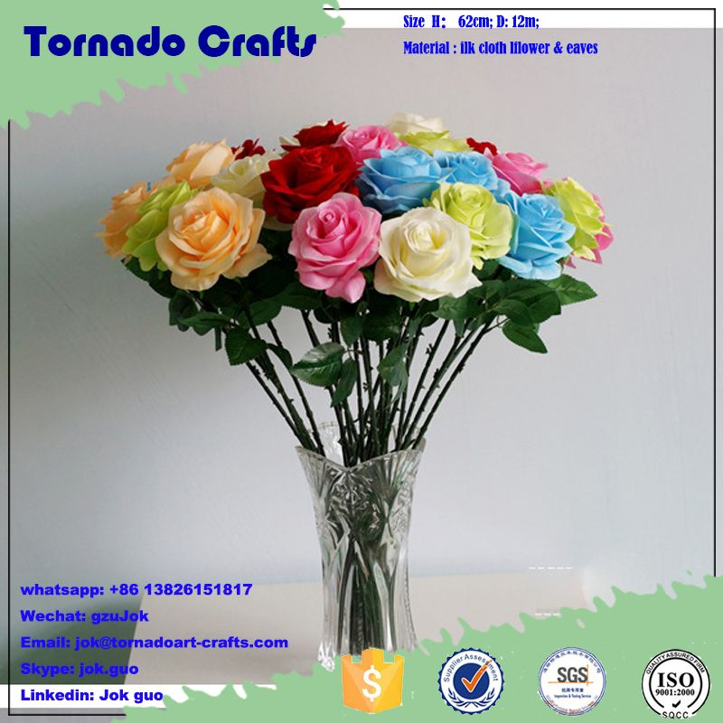 2017 Artificial Flower Single Stem Rose High Quality Silk Flowers