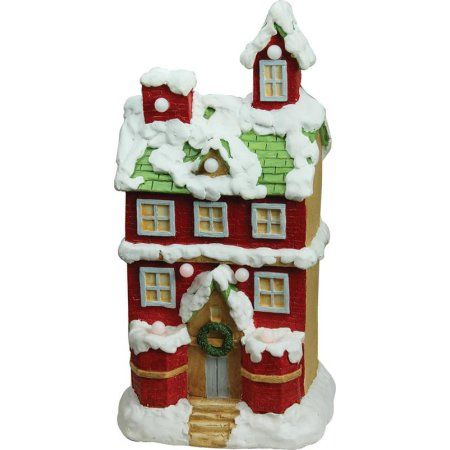 inch christmas morning pre lit led snow covered story house musical tabletop figure red also rh za pinterest