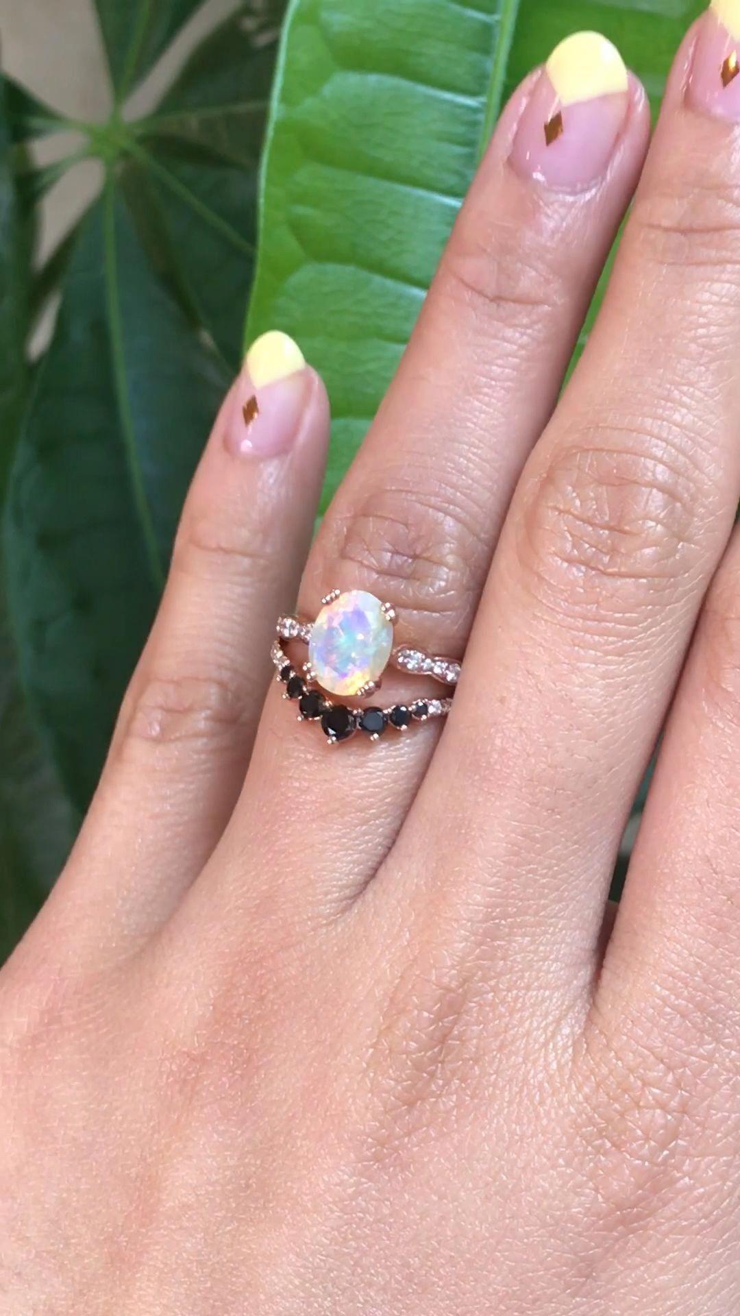 Unique Diamond Engagement Ring 14K White Gold Flower Ring