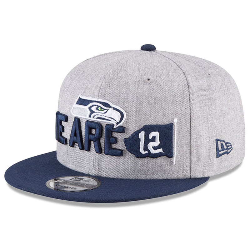 best loved cfc48 8d359 Seattle Seahawks New Era Youth 2018 NFL Draft Official On-Stage 9FIFTY  Snapback Adjustable Hat – Heather Gray Navy