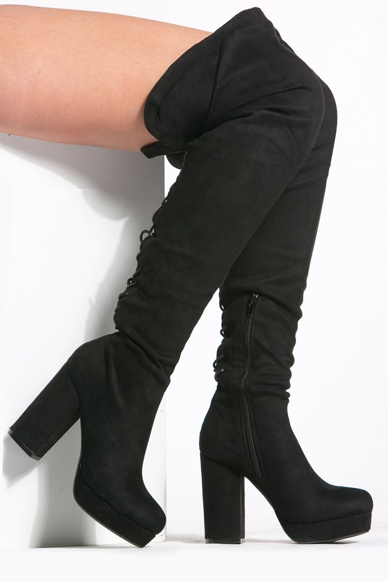 Ladies Faux Suede Tall Long Leg Knee High Fashion Mid Block Heel Zip Winter Boot