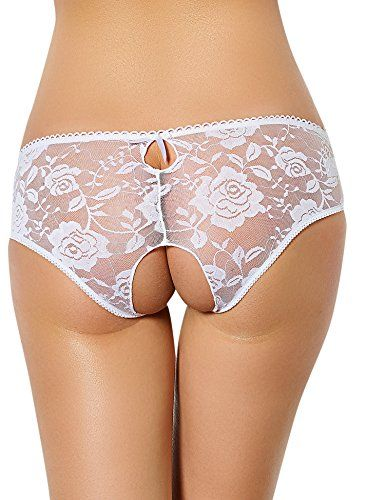 7b72a0bc2df7 Jboxing Women Open Crotch Panties Lace Sexy Knickers Crotchless Lace Thong  Brief Underwear M White *** Click image to review more details.
