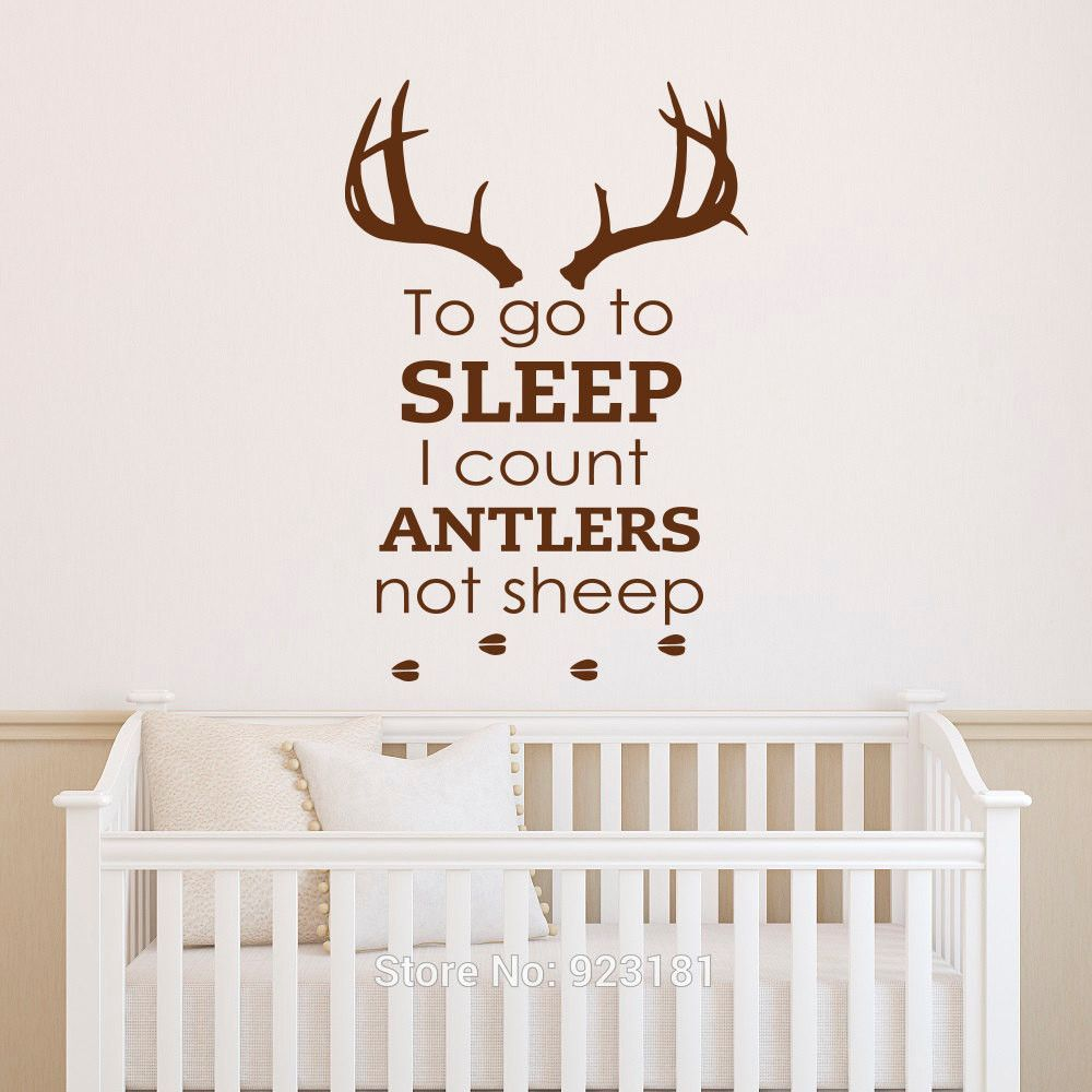 Nursery Wall Decals To Go Sleep I Count Antlers Not Sheep Boy Decal Quotes Deer Antler Hunting Kids Bedroom Home Decor