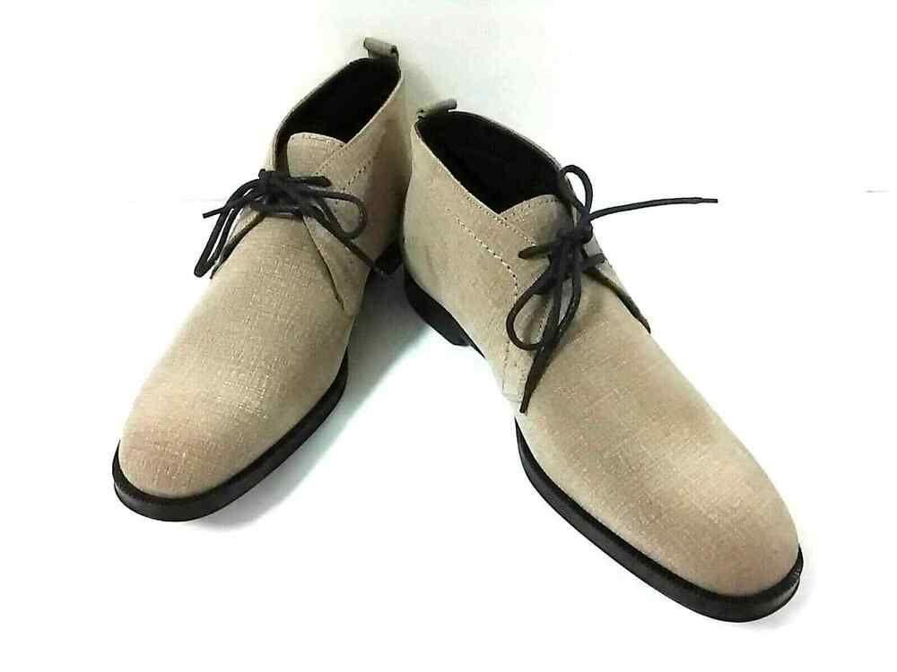 8d6e85d8a366 eBay  Sponsored Auth JIMMY CHOO Beige Leather Men s Boots  42(US  9.5