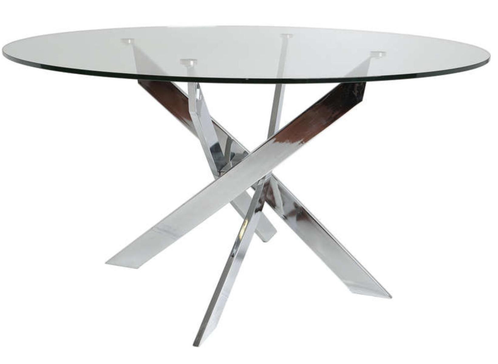 table manger ronde verre tremp et m tal chrom kany 140. Black Bedroom Furniture Sets. Home Design Ideas