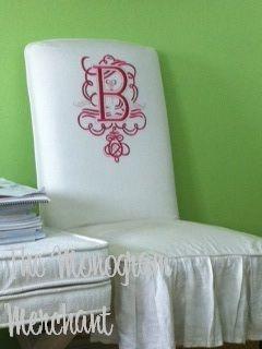 custom Parsons chairs from the Monogram Merchant.