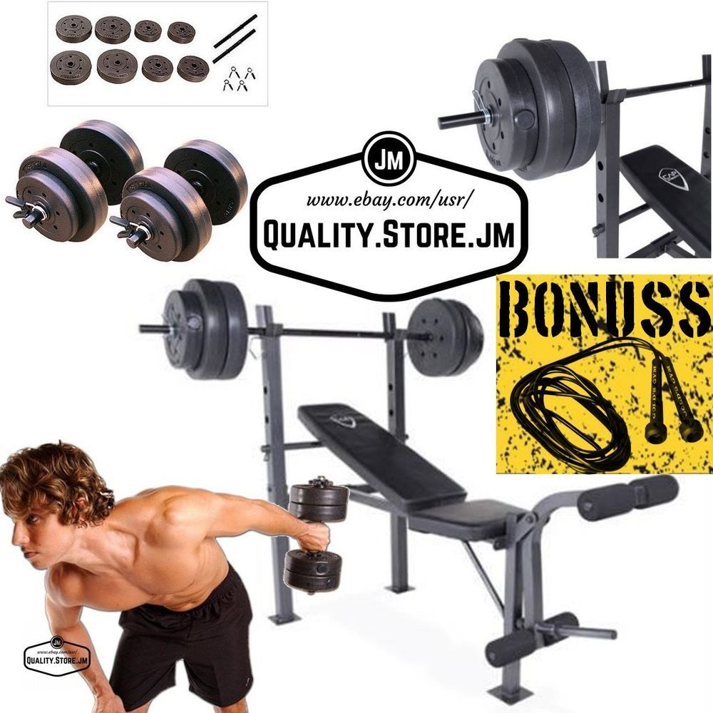 weight bench with weights set and bar press dumbells adjustable barbell home gym