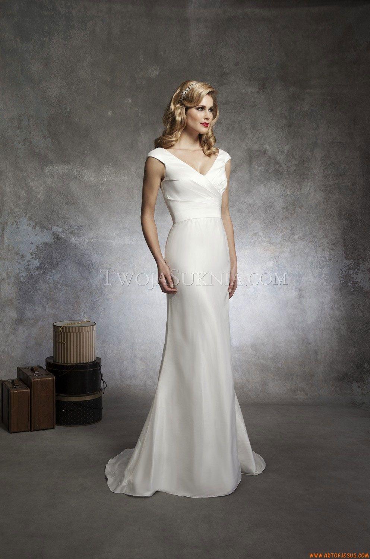 Schlichte V-Ausschnitt kolumne Brautkleider aus Satin mit Schärpe ...