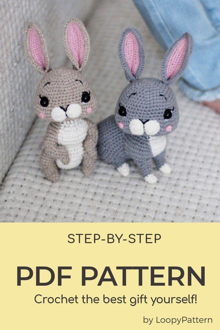 20 in 20 PATTERN crochet BUNNY pdf tutorial how crochet Easter bunny ...