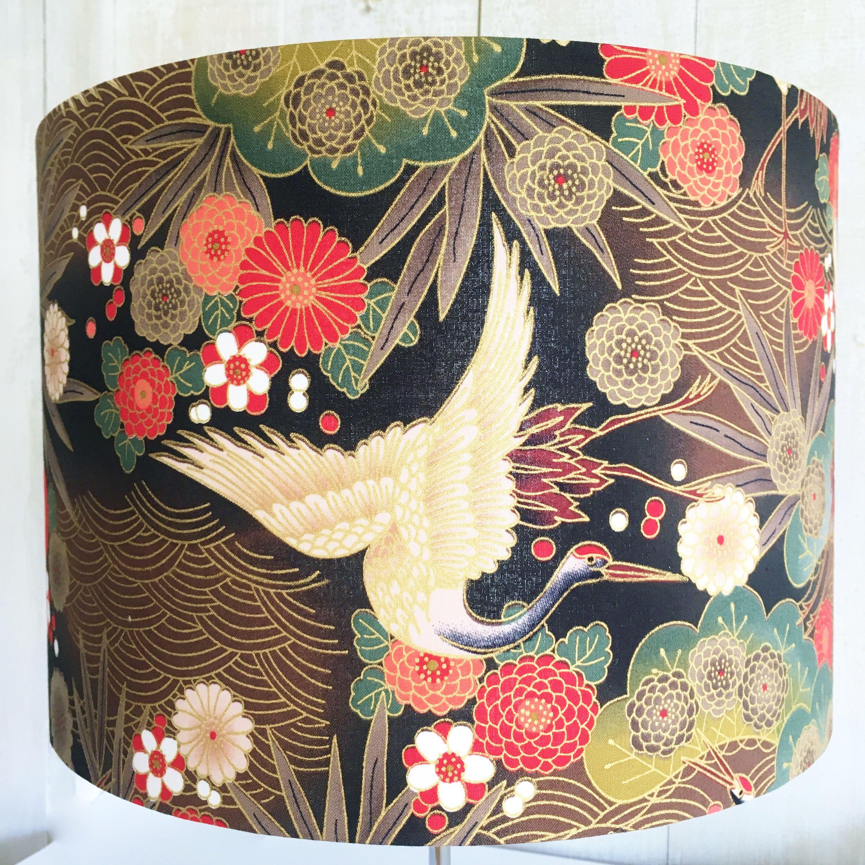 Oriental lampshade, Japanese lamp shade, crane or heron