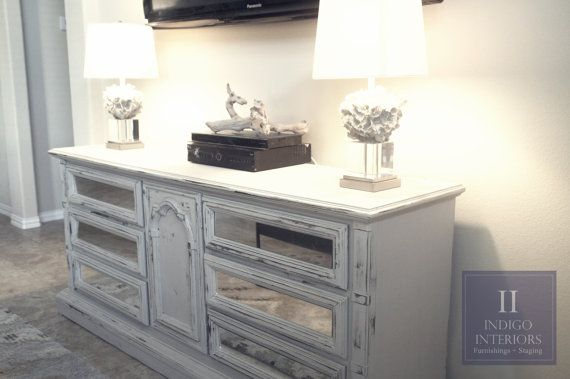 Mirrored Gray Dresser Tv Stand Buffet Or Changing Table By Indigo Interiors Www Indigointeriors Etsy Grey Mirror Console Vintage Shabby Chic