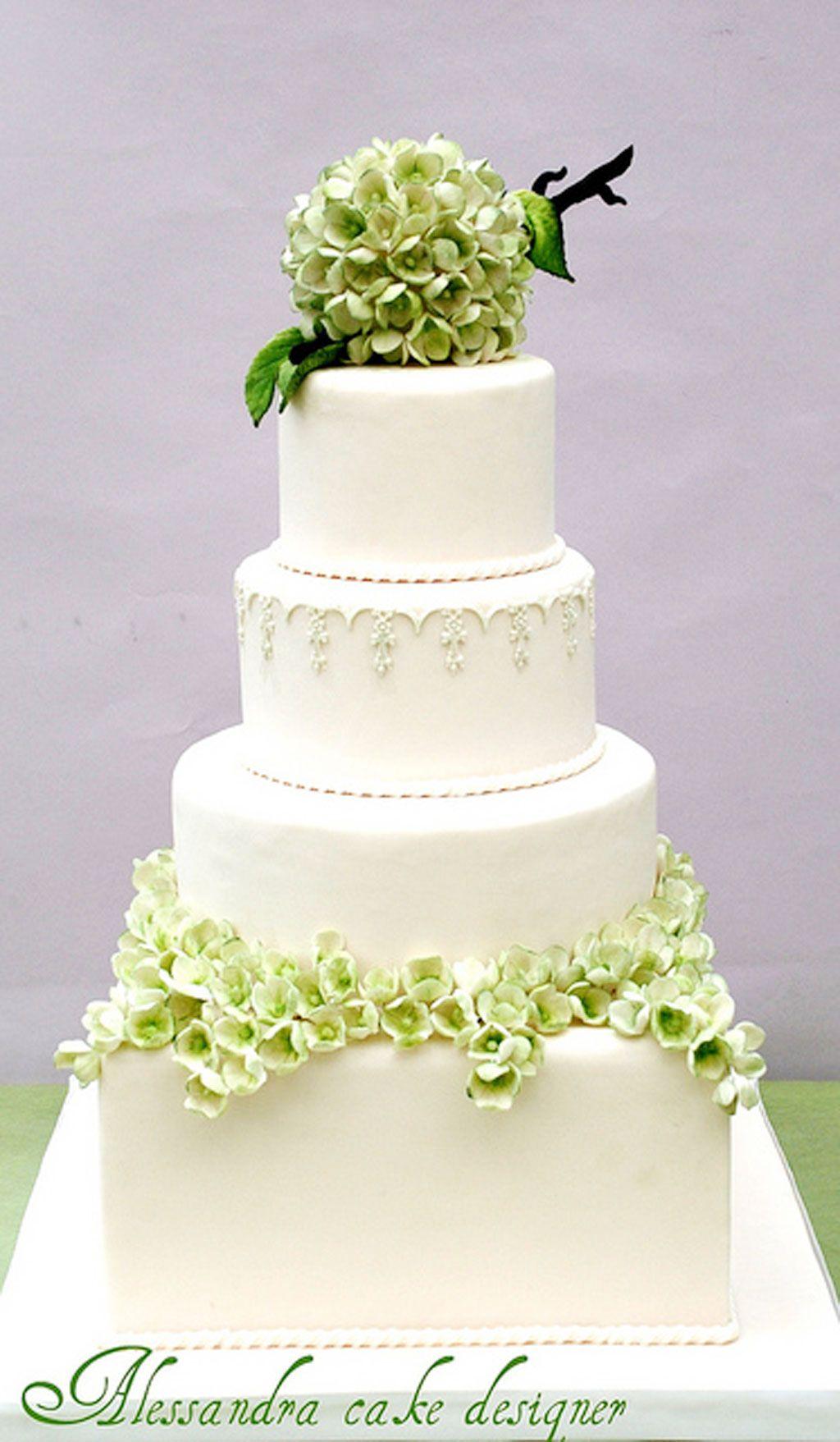 Green-Modern-Hydrangea-Wedding-Cake in 2019 | Cake ...